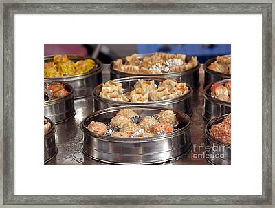 Metal Steamers With Dim Sum Dishes Framed Print by Yali Shi