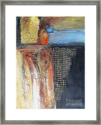 Framed Print featuring the mixed media Metallic Fall With Blue by Phyllis Howard