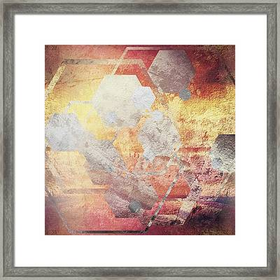 Metallic Gold And Silver Hexagons Framed Print by Brandi Fitzgerald