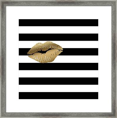 Metallic Gold Lips Black And White Stripes Framed Print