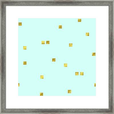Metallic Square Confetti Print, Gold Squares On Aqua Framed Print by Tina Lavoie