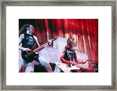 Metallica 1986 Cliff And James Framed Print by Chris Walter