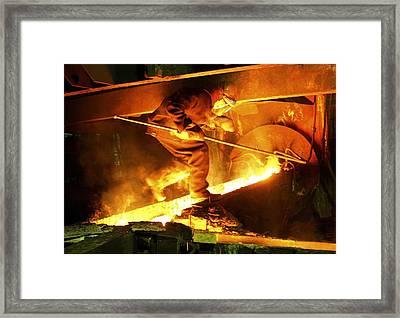 Metalworks Foundry Worker Framed Print by Ria Novosti