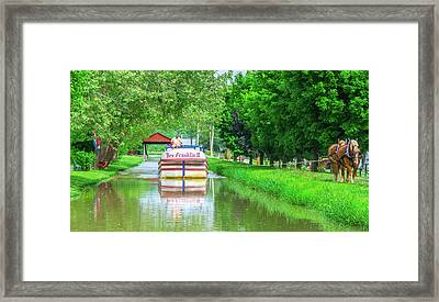 Metamora, Whitewater Canal, Ben Franklin Boat In Indiana Framed Print