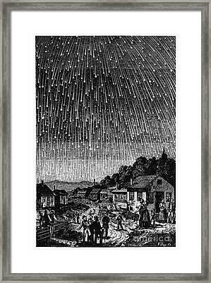 Meteor Shower, 1833 Framed Print by Granger