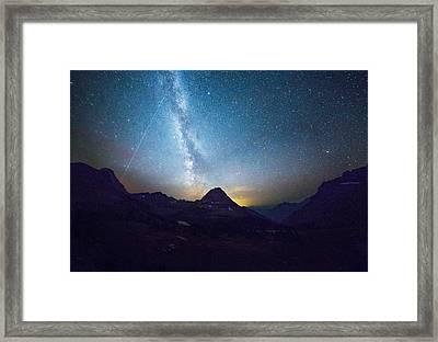 Meteor Shower // Hidden Lake, Glacier National Park Framed Print