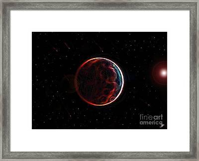 Meteor Shower Over Planet X Framed Print