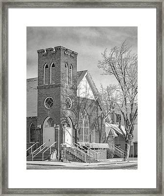 Methodist Church In Snow Framed Print