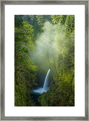 Framed Print featuring the photograph Metlako Falls Dressed In Fog by Patricia Davidson