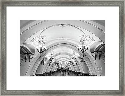 Framed Print featuring the photograph Metro Arbatskaya by Delphimages Photo Creations
