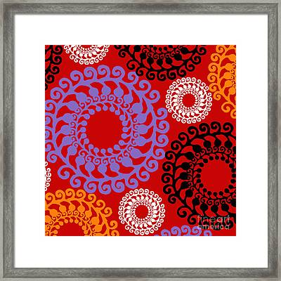 Metro Retro Circle Pattern Framed Print by Mindy Sommers