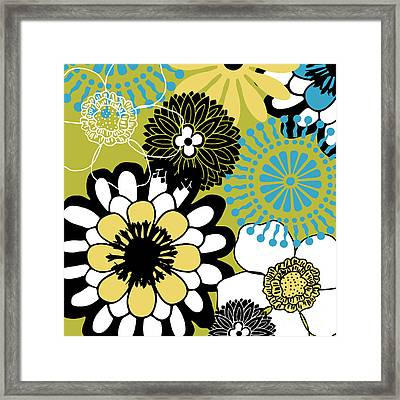 Metro Retro Cool Tones Floral Framed Print by Mindy Sommers