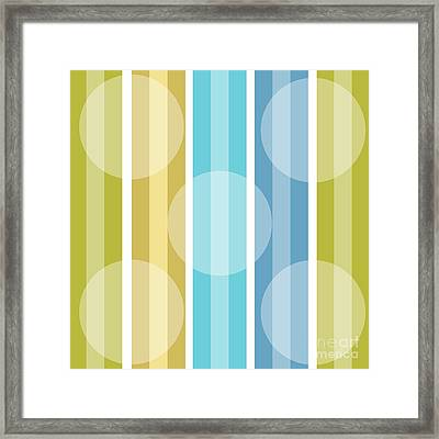 Metro Retro Cool Tones Stripe Framed Print by Mindy Sommers