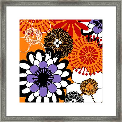 Metro Retro Warm Tones Floral Framed Print by Mindy Sommers