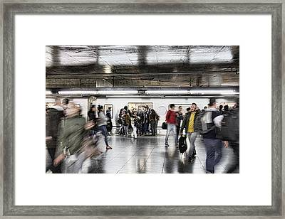 Framed Print featuring the photograph Metro Rush by Kim Wilson