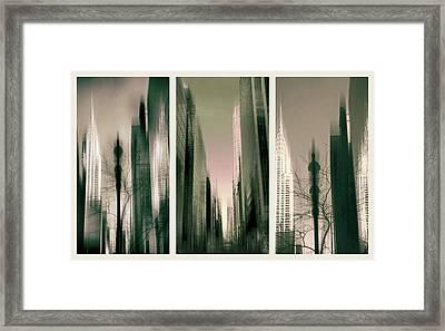 Metropolis Triptych Framed Print by Jessica Jenney