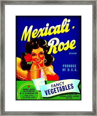 Framed Print featuring the photograph Mexicali Rose Vintage Vegetable Crate Label by Peter Gumaer Ogden