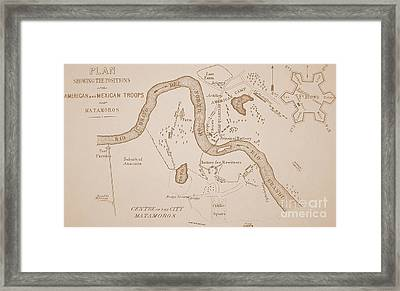 Mexican-american War Map Of Us Troops Near Rio Grande And Matamoros, 1849  Framed Print
