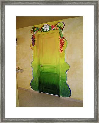 Mexican Blanket Door Mural Framed Print by Patty Rebholz