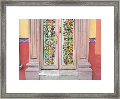 Mexican Doorway 3 Framed Print by Francine Gourguechon