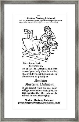 Mexican Mustang Liniment  1902 Framed Print by Daniel Hagerman
