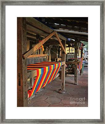 Mexican Rug Looms Framed Print by Rebecca Snyder