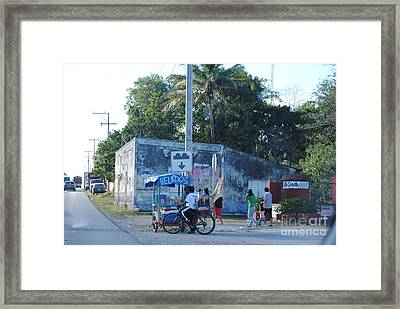 Mexican Street Vendor Framed Print by Denise Keough