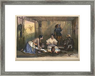 Mexican Women Grinding Corn And Making Tortillas In Mexico Framed Print