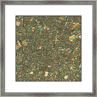 Mexico City Map Framed Print