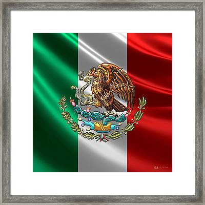 Mexico - Coat Of Arms Over Flag Framed Print