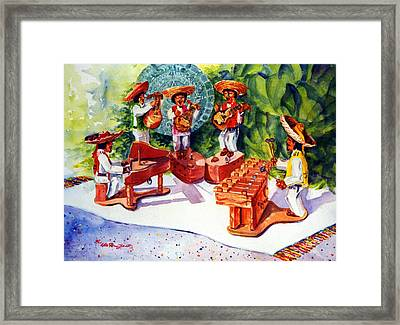 Mexico Mariachis Framed Print by Estela Robles