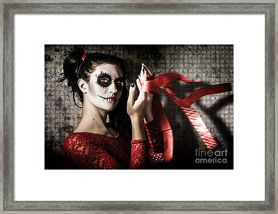 Mexico Sugar Skull Girl Performing Death Dance Framed Print