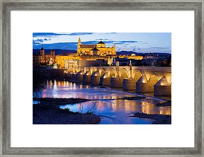 Cathedral Mosque And Roman Bridge In Cordoba Framed Print