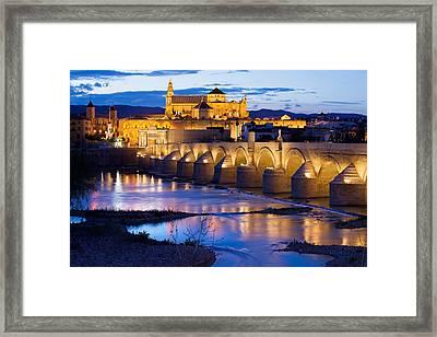 Mezquita And Roman Bridge In Cordoba Framed Print