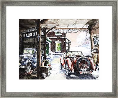 Mg Tc And A Ford 8 Y Model Out In The Barn Framed Print