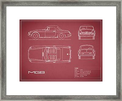 Mgb Blueprint - Red Framed Print