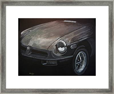 Framed Print featuring the painting Mgb Rubber Bumper Front by Richard Le Page