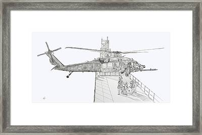 Mh-60 At Work Framed Print by Nicholas Linehan