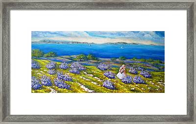 Mia On The Lavenders Field Framed Print
