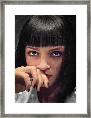 Mia Wallace - Pulp Fiction Framed Print by Taylan Apukovska