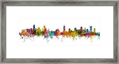 Miami And Nashville Skylines Mashup Framed Print