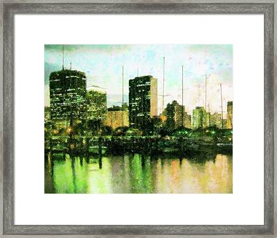 Miami At Nite Framed Print