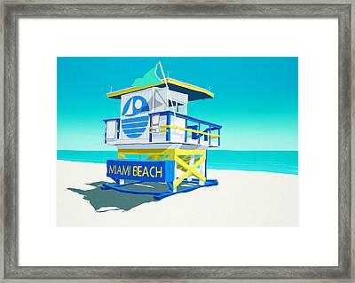 Miami Beach Hut Framed Print by Steve Ash