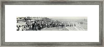 Miami Beach Sunbathers 1921 Framed Print by Jon Neidert