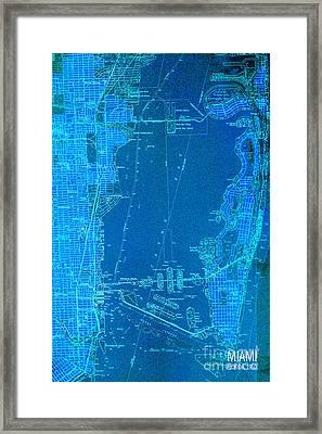 Miami Blue Old Vintage Map Framed Print