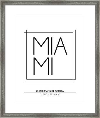 Miami City Print With Coordinates Framed Print