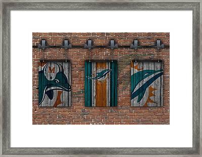 Miami Dolphins Brick Wall Framed Print