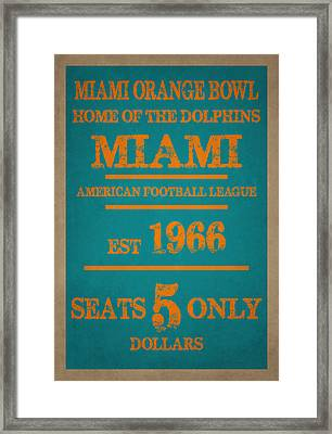 Miami Dolphins Sign Framed Print by Joe Hamilton