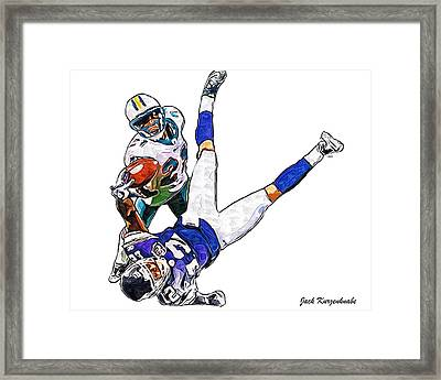 Miami Dolphins Vontae Davis And Minnesota Vikings Percy Harvin  Framed Print by Jack K