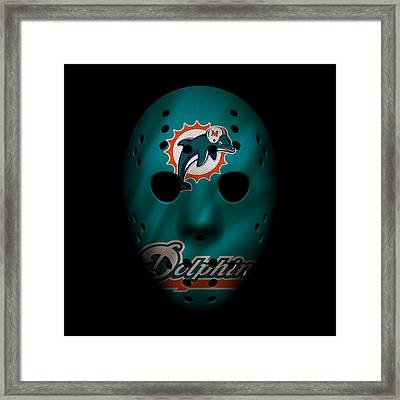 Miami Dolphins War Mask 2 Framed Print by Joe Hamilton